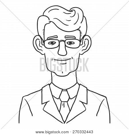 Vector Line Art Business Avatar - Young Man In Glasses And Suit .