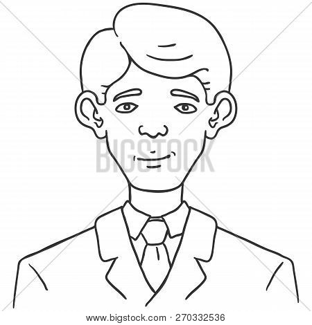 Vector Line Art Business Avatar - Young Man In Suit.
