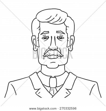 Vector Line Art Business Avatar - Old Moustached Man In Suit.