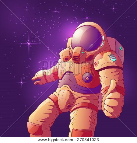 Astronaut In Futuristic Spacesuit Showing Thumb Up Hand Sign, Flying In Weightlessness Cartoon Vecto