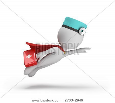 3d Superhero Doctor With A First-aid Kit In His Hand In A Hurry To Help The Patient. 3d Image. White