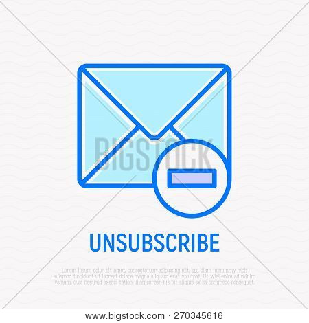 Unsubscribe Thin Line Icon: Envelope With Minus. Modern Vector Illustration.