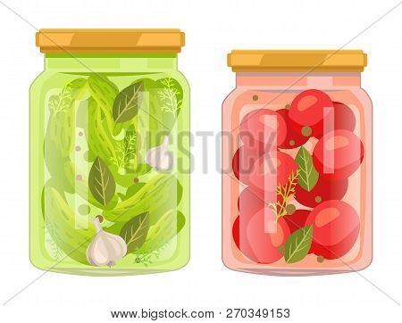 Hermetic Bottles With Preserved Food Vector Poster. Isolated Tomatoes With Bay Leaf And Peppercorn J