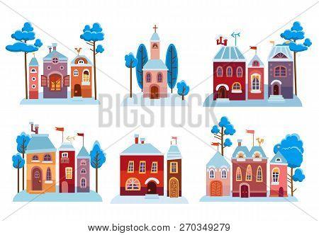 Cartoon Christmas Houses Set. Snow Winter City.