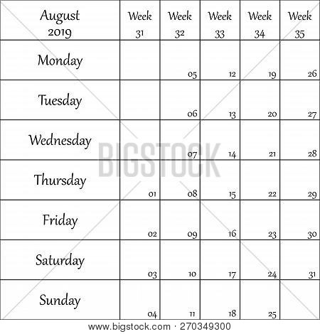 August 2019 Planner With Number For Each Weak