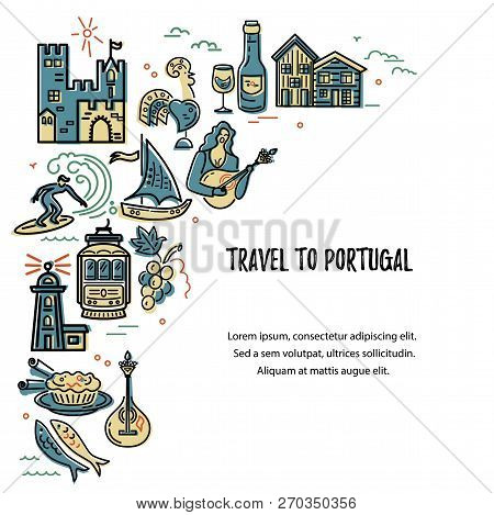 Travel To Portugal Vector Illustration. Template With Portuguese Symbols. Travel Concept.