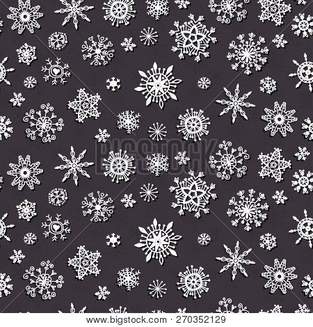 Winter Snow Flakes Doodles Pattern. Xmas Decor