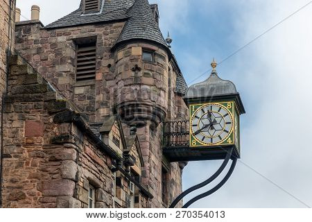 Canongate Tolbooth With Clock Along Royal Mile In Edinburgh, Scotland