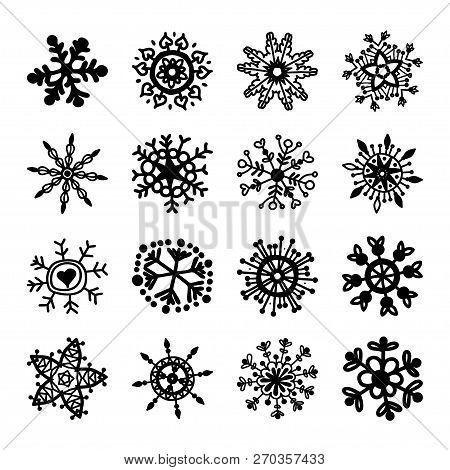Set Of Vector Snowflakes. Christmas Symbols. Xmas