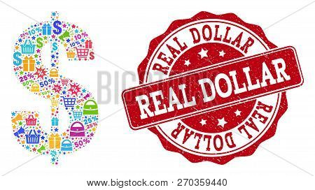 Trading Combination Of Dollar Symbol Mosaic And Grunge Seal. Mosaic Dollar Symbol Collage Is Constru