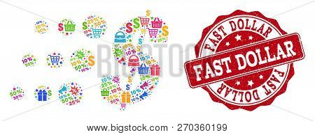 Trading Collage Of Fast Dollar Mosaic And Unclean Seal. Mosaic Fast Dollar Collage Is Designed With