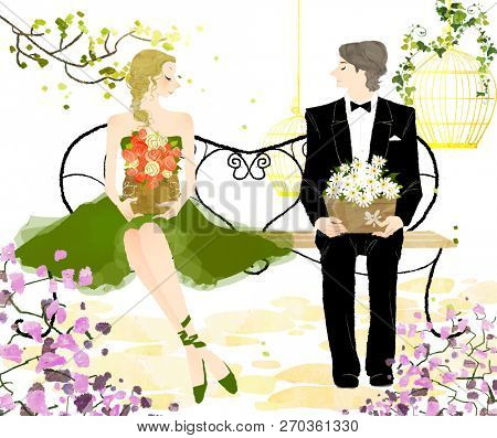 Young couple sitting on bench  holding the flower pot