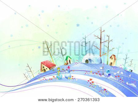Winter climate with snowman and igloo