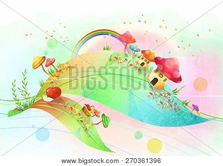 Rainbow and mushroom village, picnic basket