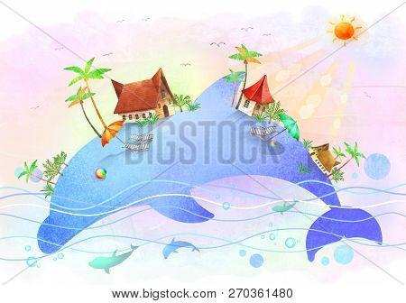 beach island on dolphin body