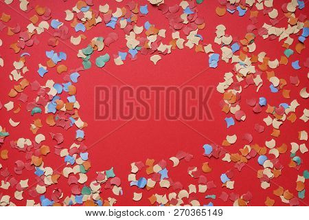 Confetti Frame Or Border On Red Paper Background - Party Celebration Concept Flat Lay With Copy Spac