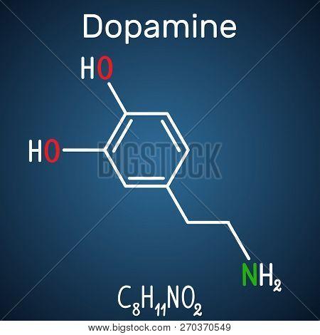 Dopamine ( DA) molecule. Structural chemical formula and molecule model on the dark blue background. Vector illustration poster