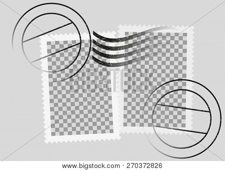 Postmarked Postage Stamps Template With Date Stamp Vector Illustration