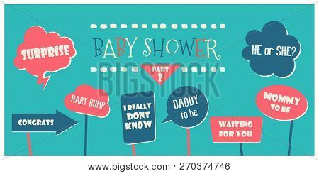 Baby Shower Party Photo Booth Props Vector Elements. Speech Bubbles And Illustrations For Photobooth