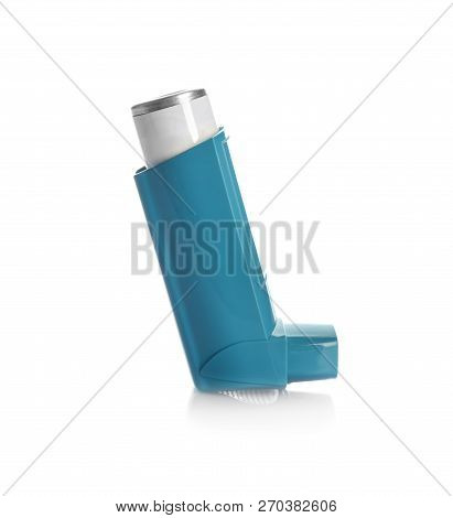 Portable Asthma Inhaler Device On White Background