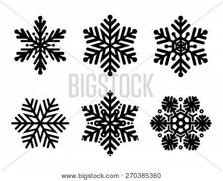 Set Of Black Snowflakes. Snowflakes Vector Icons, Snowflakes Icon, Snowflakes Collection, Set Snowfl