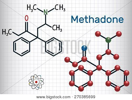 Methadone Molecule. Structural Chemical Formula And Molecule Model. Sheet Of Paper In A Cage.vector
