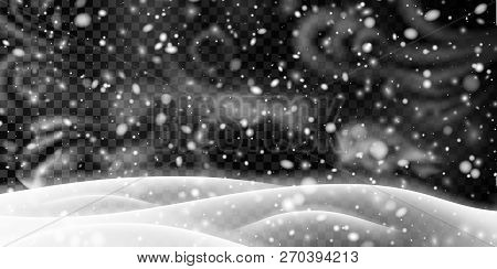 Transparent Banner With Winter Landscape, Snow And Blizzard.