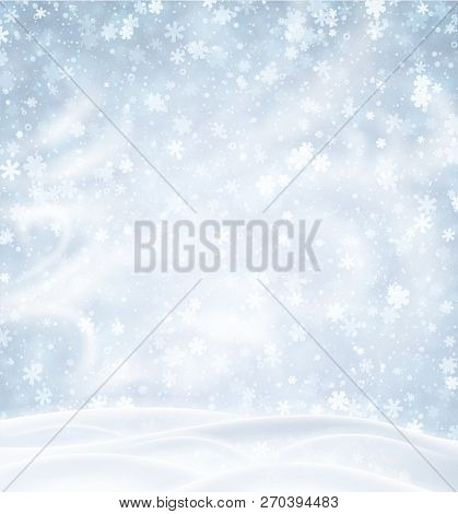 Blue Background With Winter Landscape, Snowflakes And Blizzard.