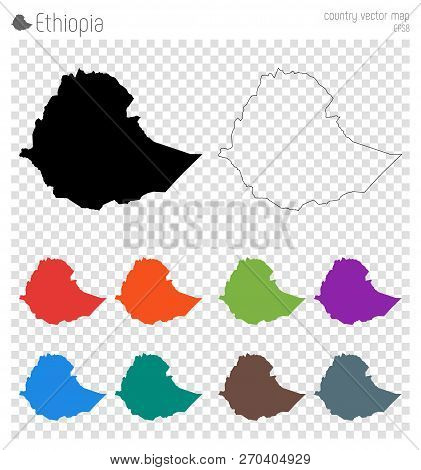 Ethiopia High Detailed Map. Country Silhouette Icon. Isolated Ethiopia Black Map Outline. Vector Ill