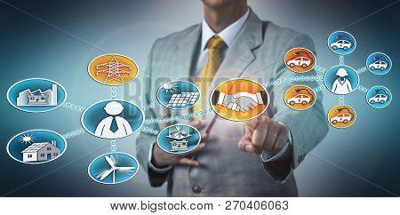 Businessman Closing Partnership Deal Between A Renewable Energy Utility Corporation And A Car Fleet