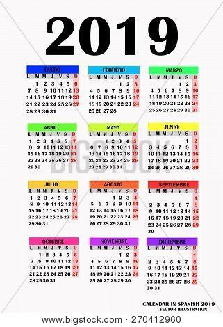 Year 2019 Calendar. Simple Design For Calendar 2019. Calendar On White Background For Organization A