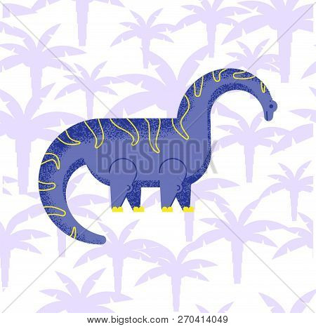 Dinosaur Brachiosaurus With Palm Trees With Noise And Shadows, In A Flat Style