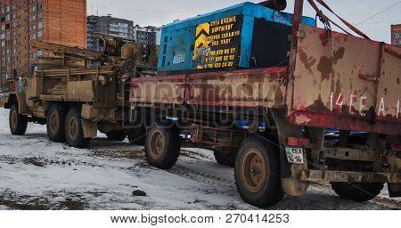 Kazakhstan, Ust-kamenogorsk, November 22, 2018: Mobile Drilling Rig Mounted On A Truck Zil 131. Truc