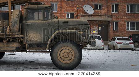 Kazakhstan, Ust-kamenogorsk, November 22, 2018: Mobile Drilling Rig Mounted On A Truck Zil 131. Comm