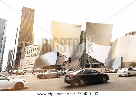 Los Angeles, Usa - February 16, 2017: Walt Disney Concert Hall Designed By Architect Frank Gehry, Is