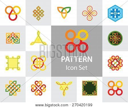 Pattern Icon Set. Hexagon Infinite Traditional Knot Chinese Amulet Round Creative Square Pattern Ete