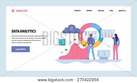 Vector Web Site Gradient Design Template. Data Analytics, Dashboard And Business Finance Report. Lan
