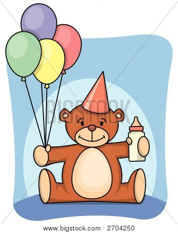 Teddy bear with balloons celebrating his 1st birthday poster