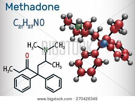 Methadone Molecule. It Is An Opioid, Is Used As An Analgesic, In The Treatment Of Drug Addiction. St