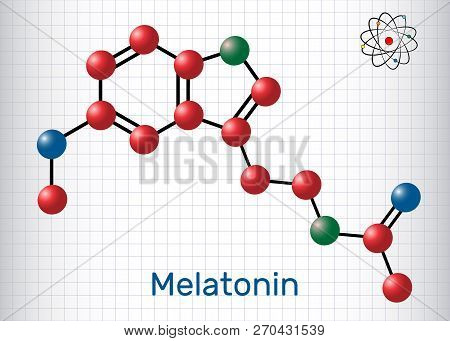 Melatonin Molecule, Sleep Hormone. Atoms Are Represented As Spheres With Color: Carbon (red), Oxygen