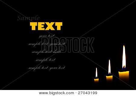 candle isolated on black background