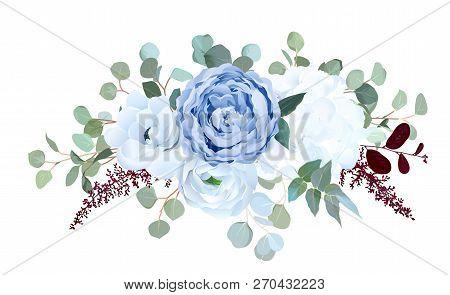 Dusty Blue Rose, White Hydrangea, Ranunculus, Anemone, Eucalyptus, Burgundy Red Astilbe Vector Desig