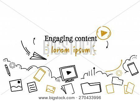 Social Media Sharing Engaging Content Concept Sketch Doodle Horizontal Isolated Copy Space