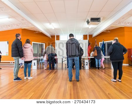 Melbourne, Australia - November 19, 2017: Voters Waiting To Vote In The 2018 Victorian State Electio