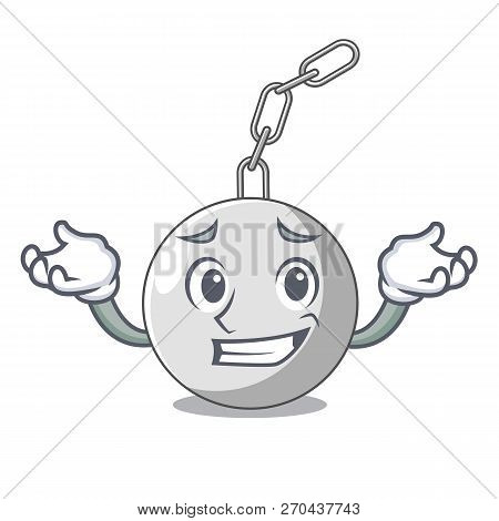 Grinning Wrecking Ball Hanging From Chain Cartoon