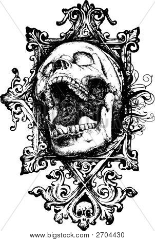 Screaming Grunge Skull Vector Illustration