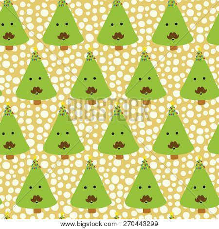Christmas Trees With Mustache. Kids Fun Christmas Pattern. Seamless Christmas Vector Pattern. Fun Ch