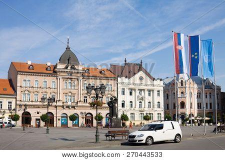 Novi Sad, Serbia - August 31, 2012: The Houses In The Historical Center Of Novi Sad City At The Squa