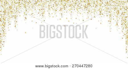 Gold Stars Luxury Sparkling Confetti. Scattered Small Gold Particles On White Background. Beauteous