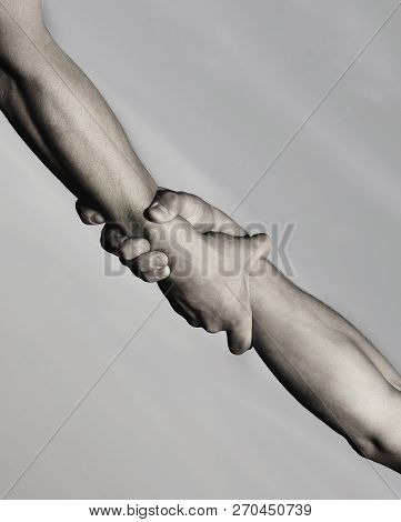 Two Hands, Helping Hand Of A Friend. Rescue, Helping Gesture Or Hands. Strong Hold. Handshake, Arms,